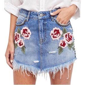 Free People Wild Rose Ember Denim Skirt 26